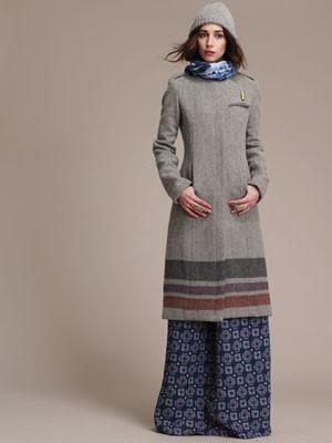 Designer Lauren Moffatt: Long Gray Jacket with Stripes