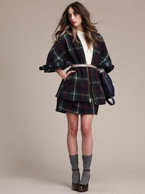 Designer Lauren Moffatt: plaid jacket and skirt