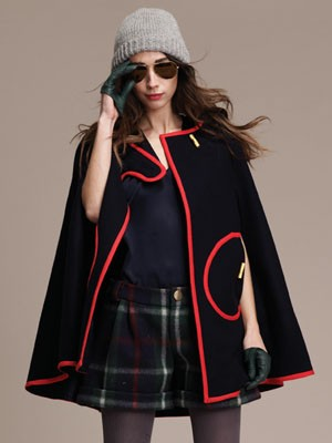 Designer Lauren Moffatt: Plaid Shorts and Navy Cape with Red Piping