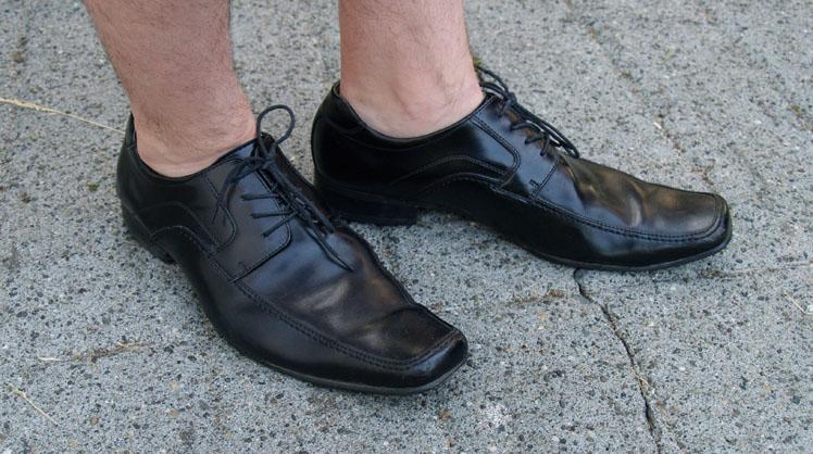 Close Up Of Mens Black Dress Shoes