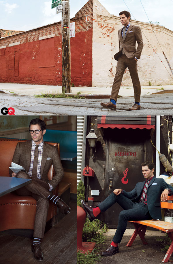 GQ spread - james marsden in tweed suits