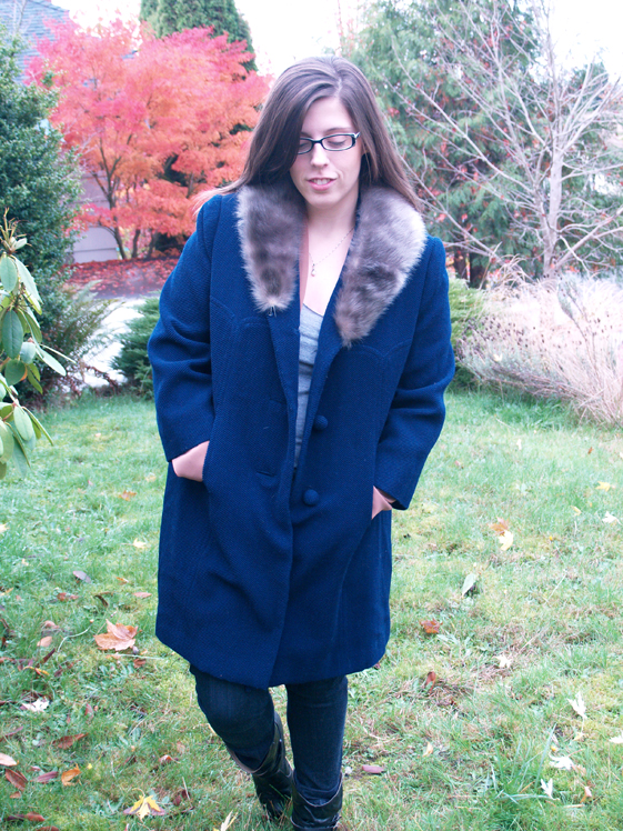 womens navy fur coat