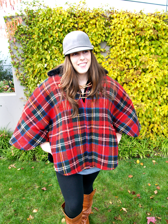 womens plaid reversible cape