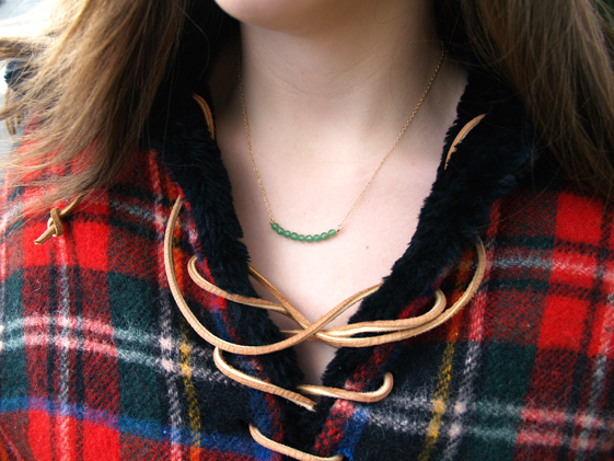 gold and green necklace for women