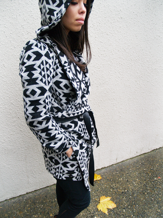 black and white graphic coat