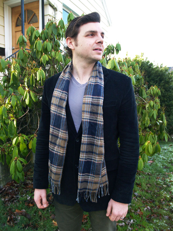 mens plaid scarf and black corduroy blazer