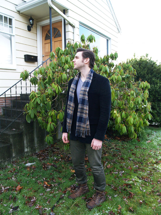 mens green denim and plaid scarf