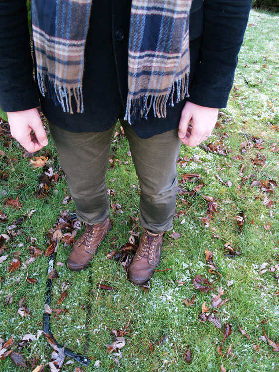 mens army boots and green denim