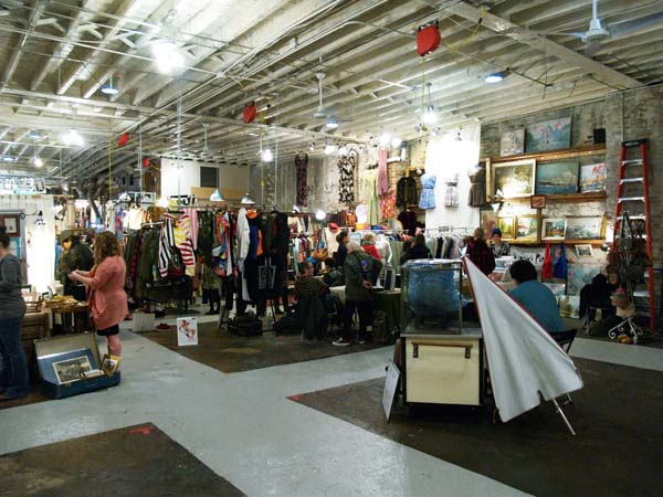 inside Artists & Fleas indoor flea market