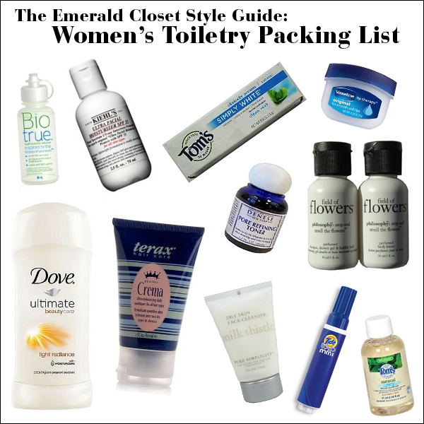womens toiletry packing list
