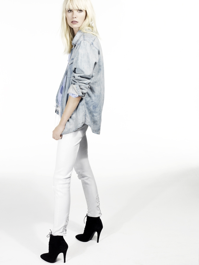 Faith Connextion chambray shirt and white denim
