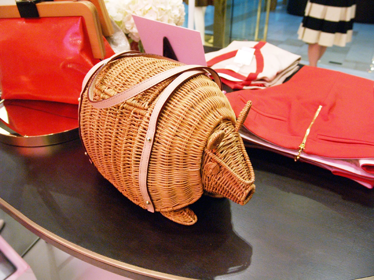 Kate Spade wicker armadillo purse