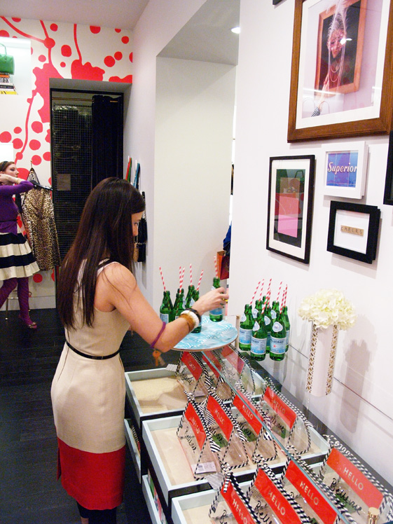 Kate Spade employee setting up for party