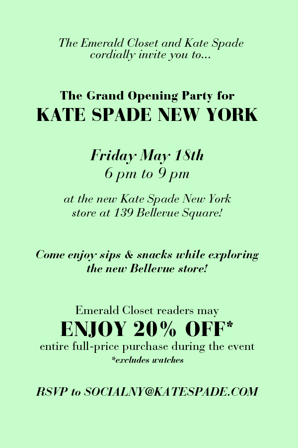 Kate Spade New York Bellevue WA grand opening flyer
