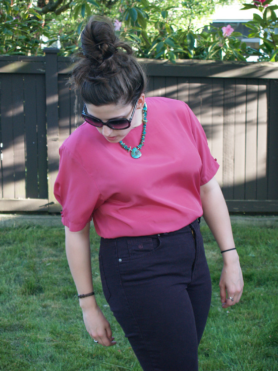 fuschia blouse and plum jeans
