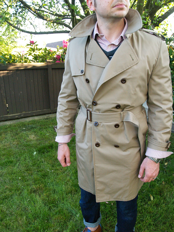 close up of mens camel trench coat