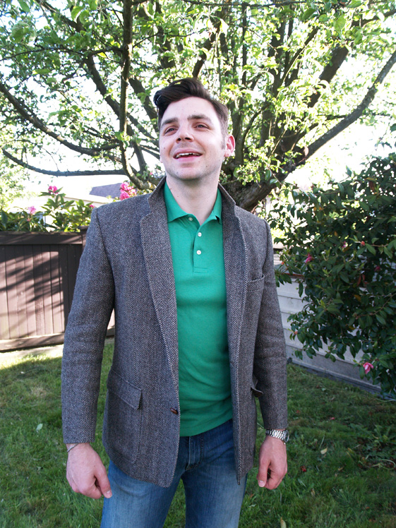 mens green polo and blazer