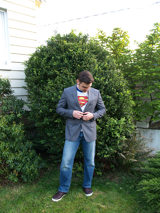 mens blazer and super man tee