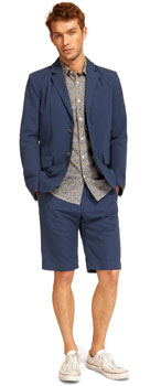 navy shorts suit mens