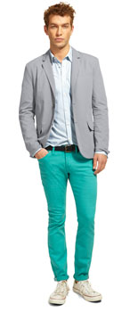 teal pants and gray blazer mens