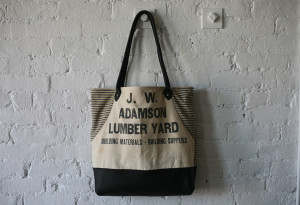 salvaged canvas tote