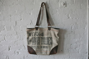 salvaged grain sack tote