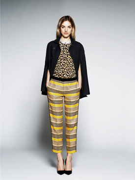 womens striped pants with leopard print top