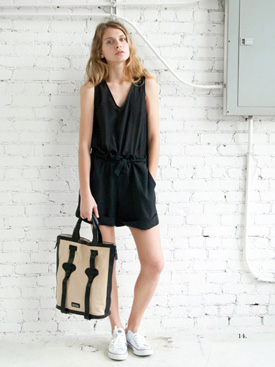 womens leather tote and black loose romper
