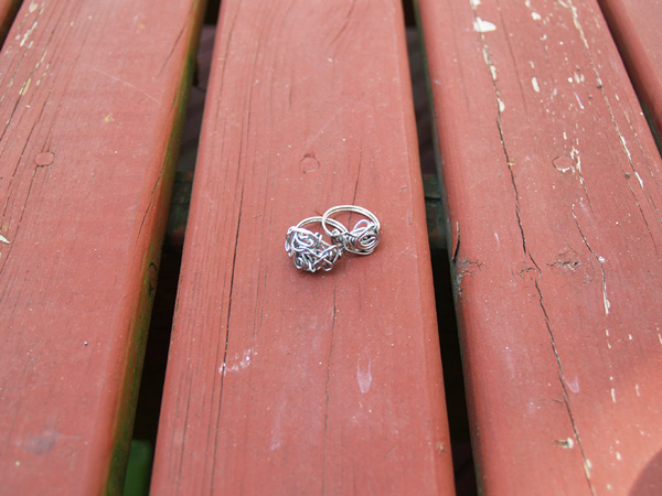 silver steel ring knots